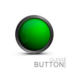 green glass button vector image