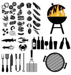 Grill barbecue icon set on white background vector