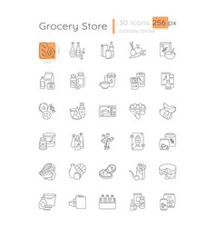 Grocery linear icons set vector