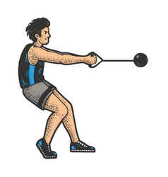 Hammer throw athlete sketch vector