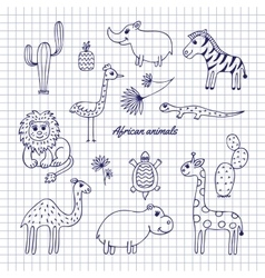 Hand-draw African animals vector image