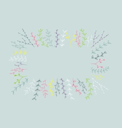 Hand-drawn branches frame background vector image