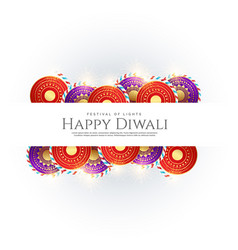 Happy diwali background with festival crackers vector