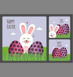 Happy easter greeting card set vector