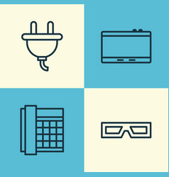 Hardware icons set collection of socket gadget vector