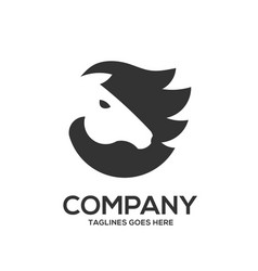 horse head graphic logo template vector image