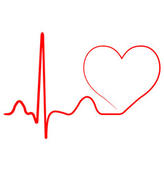 Hospital heart logo with pulse heart beat icon vector