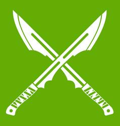 japanese tanto daggersicon green vector image