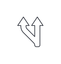 junction separation two ways thin line icon vector image