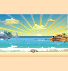 Landscape-sunrise over the arab coast of the ocean vector