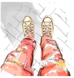 Legs with redjeans in gumshoes vector image