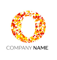 Letter o logo with orange yellow red particles vector