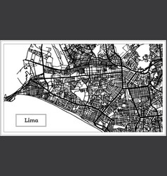 Lima peru city map in black and white color vector