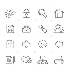 line internet and web navigation icons vector image