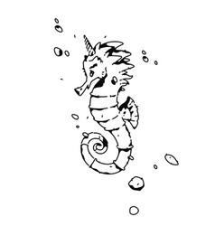 linear drawing a sea horse fashion tattoo vector image