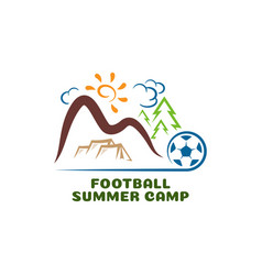 Logo football summar camp fun cartoon vector