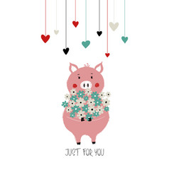 Lovely pig holding bunch flowers vector