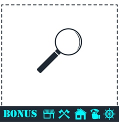 Magnifying glass icon flat vector