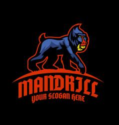 mandrill monkey logo mascot vector image