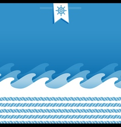 Marine background with sea wave and ropes vector
