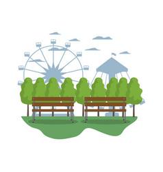 Mechanical ride carnival games landscape vector
