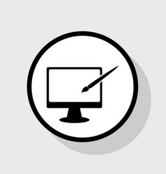 monitor with brush sign flat black icon vector image