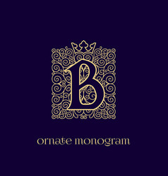 Monogram with crown b vector