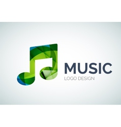 Music note icon logo made of color pieces vector image