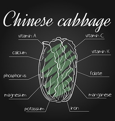 Nutrients list for chinese cabbage on chalkboard vector
