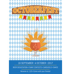 octoberfesr informative poster with snifter gass vector image