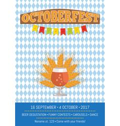 Oktoberfest informative poster with snifter gass vector