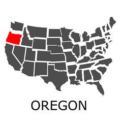 Oregon state on usa map vector