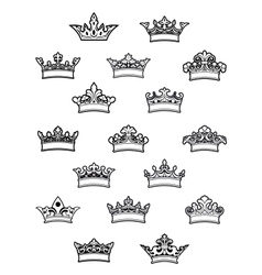Ornated heraldic crowns set vector