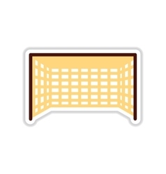 Paper sticker on white background football goal vector