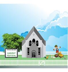 Parish church harvest festival vector