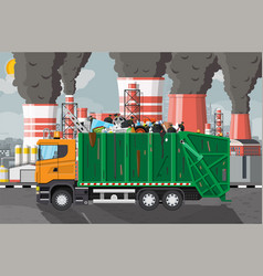 plant smoking pipes garbage truck full trash vector image