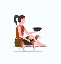 Poor woman with dog sitting on floor beggar girl vector