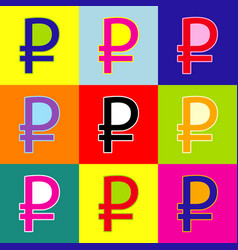 ruble sign pop-art style colorful icons vector image