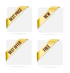 sale gold corner ribbons new best offer best vector image