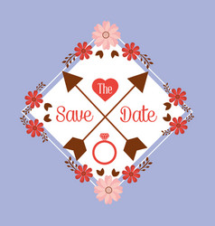 save the date floral frame cute retro flowers vector image