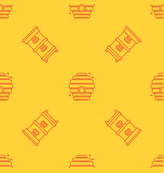 Seamless pattern apiary and beekeeping beehives vector