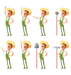Set of farmer icons vector