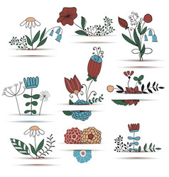Set of spring bouquets vector