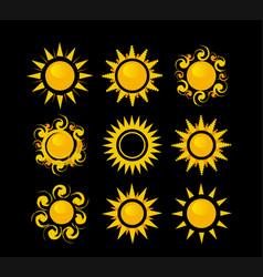 set suns on a black background vector image