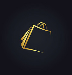 Shopping bag gold logo vector