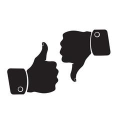 silhouette thumb up and thumb down like dislike vector image