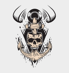 skull and sailor anchor vector image