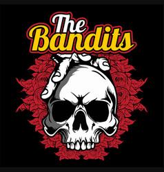Skull bandits hand drawingshirt designs biker vector