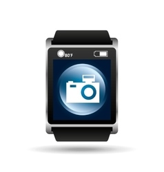 smart watch blue screen camera icon media vector image