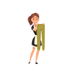 smiling maid hanging wet breeches out to dry vector image